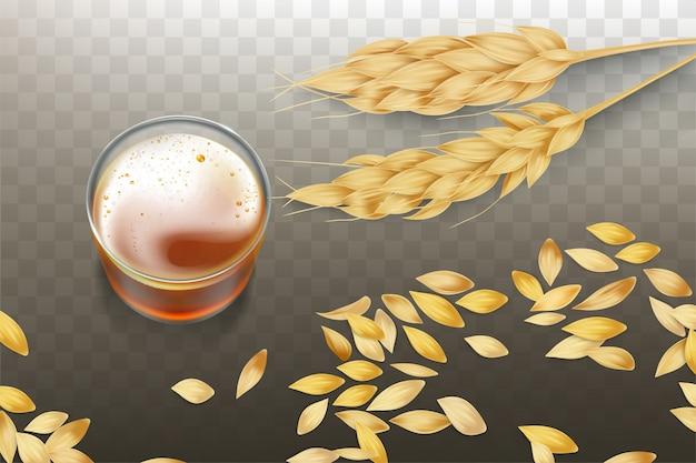 大麦または小麦の穂と穀物が散在するガラスビーカーのクラフトビールまたはウイスキー