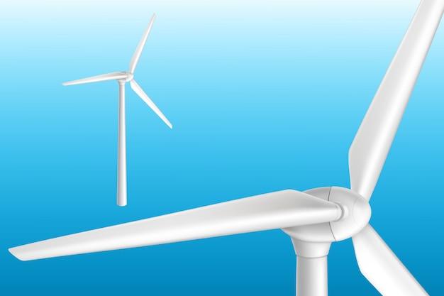 タワーの現実的な孤立した図の風力タービン。効果的な再生可能エネルギーシステム