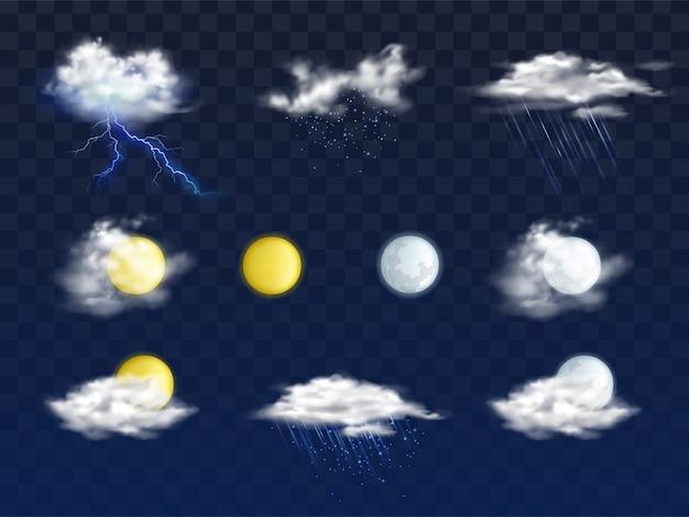 さまざまな雲、太陽と月の円盤と天気予報アプリの現実的なアイコンのセット