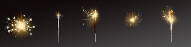 現実的な花火セット、風が火花を吹きます。
