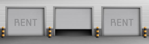 賃貸料、駐車場の貯蔵室のガレージボックスの外観の概念の背景。