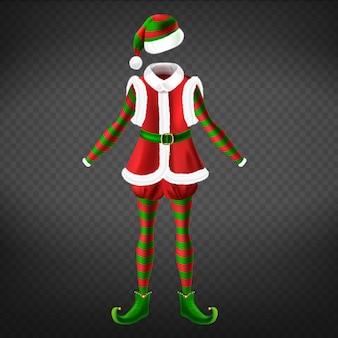 チョッキ、ツイストトゥシューズ、ストライプタイツ、帽子のあるクリスマスエルフの服