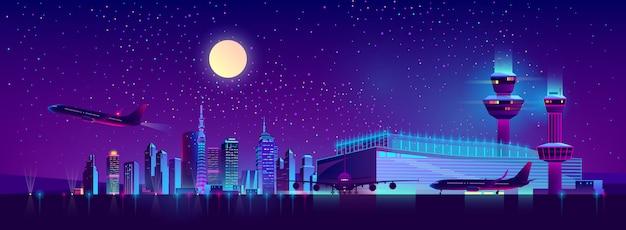 市内の空港からの夜のフライト漫画