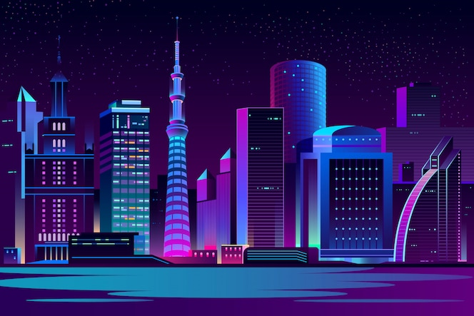 Ночной город футуристический пейзаж фон