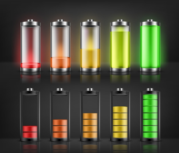 Векторный набор индикаторов заряда батареи с низким и высоким уровнем энергии, изолированные на фоне. полный