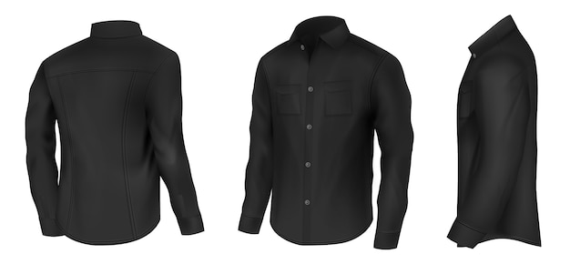 メンズクラシックブラックシャツ