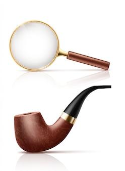 ゴールデンフレームと木製のハンドルを持つヴィンテージの虫眼鏡