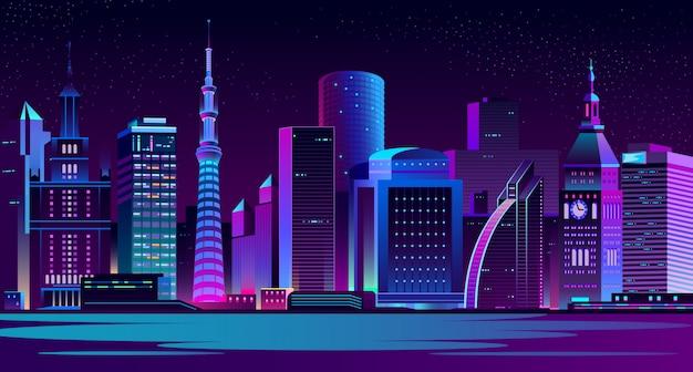 Современный город ночной пейзаж