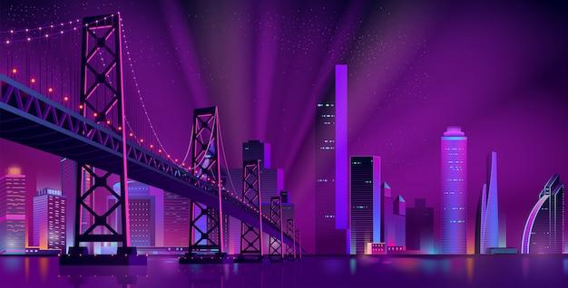 Современный ночной городской пейзаж векторный фон
