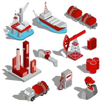 Набор изолированных векторных изометрических иллюстраций, трехмерных значков нефтяной промышленности.