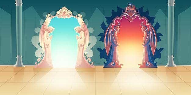 Мультяшный вектор небесных и адских ворот с смиренно молящимися ангелами и страшными рогатыми демонами, встречающими гостей