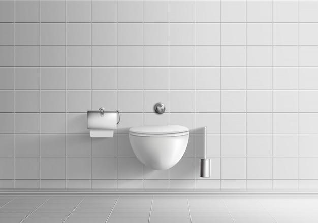 Современная туалетная комната минималистичный интерьер реалистичный вектор макет с белыми плиточными стенами и полом
