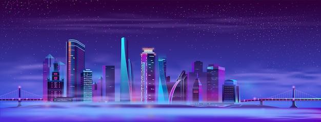 Вектор туманный мегаполис между навесными мостами, остров