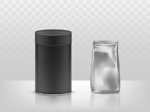 Коробка из тубы из черной картона и фольги, пластиковый запечатанный пакет, контейнер