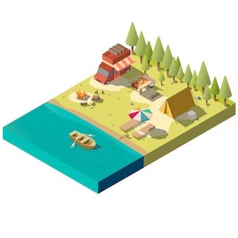 川岸のキャンプ場
