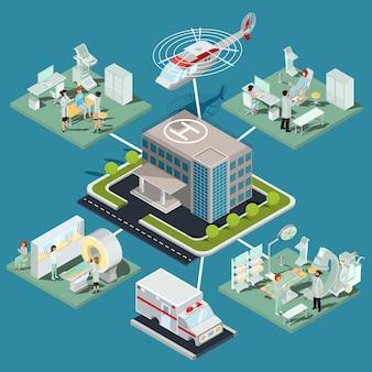 Набор трехмерных плоских изометрических иллюстраций здания медицинской клиники и медицинских помещений с соответствующим оборудованием