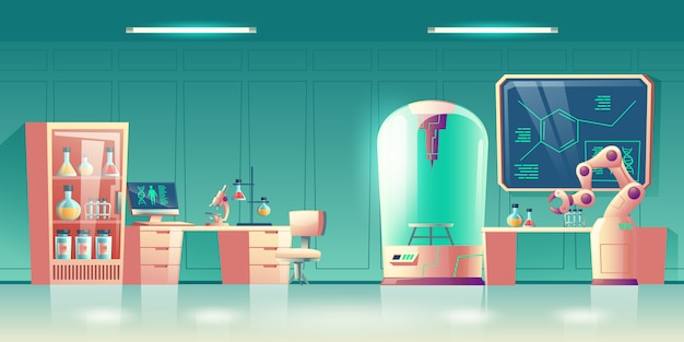 Научная лаборатория будущего, исследователь генетики человека на рабочем месте интерьер мультфильм