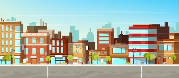 近代的な都市、町の通り