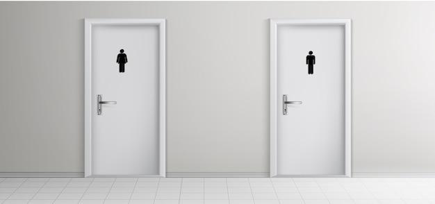 公衆トイレの男性、女性の訪問者の入り口