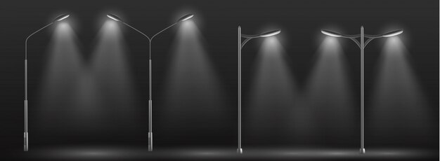 Ряд современных уличных фонарей