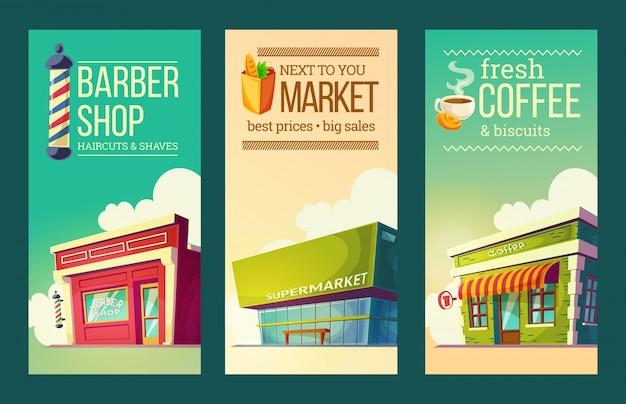 Установите вертикальные баннеры в стиле ретро с супермаркетом, парикмахерской, кофейней