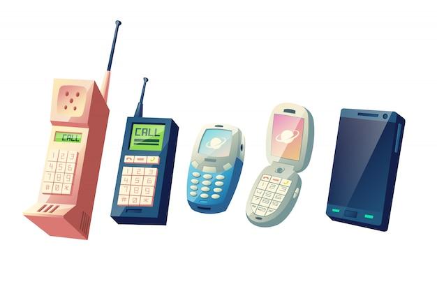 Мобильные телефоны эволюция мультфильм векторный концепт. поколения мобильных телефонов от старинных моделей с физическими цифровыми клавиатурами и выдвижными антеннами до современных интеллектуальных устройств с сенсорным экраном