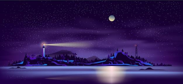 Дикий северный остров побережья вектор мультфильм
