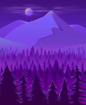 野生の北部の土地夜の風景漫画