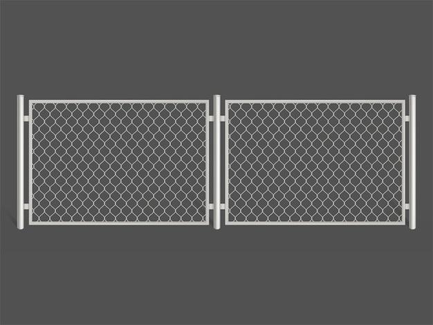ワイヤーフェンスは、灰色の背景に分離されました。銀色のメタルチェーンリンクメッシュ。
