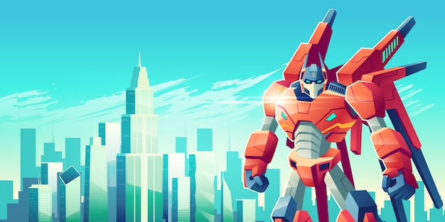Мощный робот-трансформер-воин стоит со сжатыми кулаками