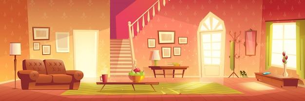 家の居心地の良いリビングルームのインテリア漫画