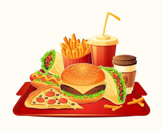 ファーストフード食事の伝統的なセットのベクトル漫画のイラスト