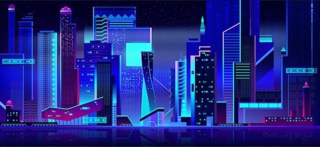 夜の時間で未来的な街並みのパノラマビュー。