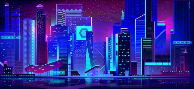 ネオンの夜の街。未来的な建築