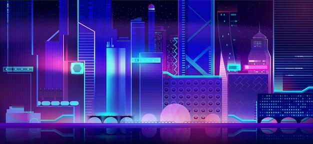 ネオン照明と未来的な街の背景。