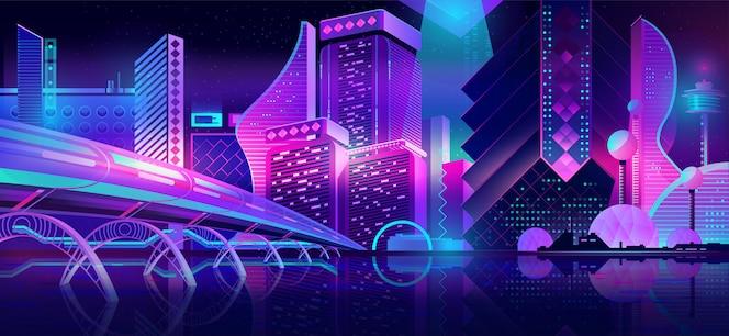 Город будущего ночной пейзаж неоновый мультфильм