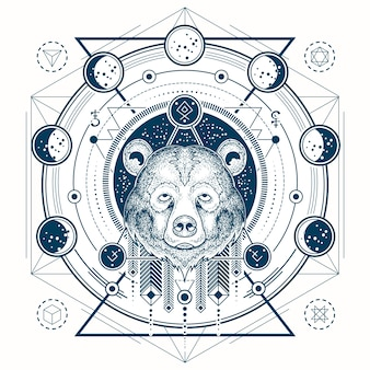 熊の頭と月の相の幾何学的な入れ墨の正面図のベクトル図
