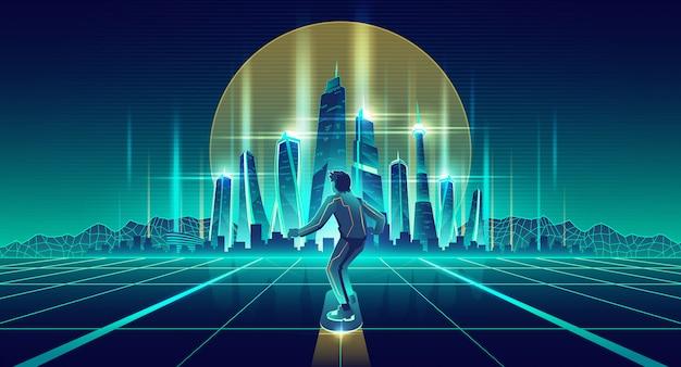 Человек, скейтбординг в будущем мегаполисе вектор