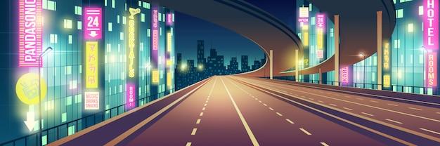 Ночной мегаполис пустой, шоссе с четырьмя полосами движения, автострада, освещенная ресторанами, гостиница, дорога и караоке-бар, неоновые цвета вывесок мультфильма векторный фон современный ночной город