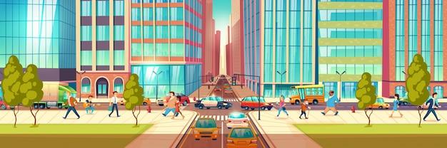 Современная улица города на час пик мультфильм векторный концепт. люди, спешащие по делам, горожане, идущие по тротуару, пешеходы, проезжающие перекрестки, машины едут по дороге, застрявшие в пробке, иллюстрация