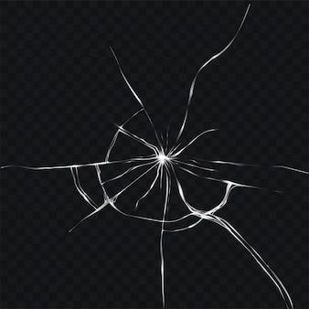 壊れた、割れたガラスの現実的なスタイルのベクトル図