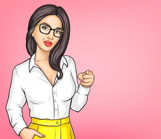 若いブルネットの女性漫画のベクトルの肖像