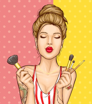 Макияж косметика объявление иллюстрация с портретом моды женщина