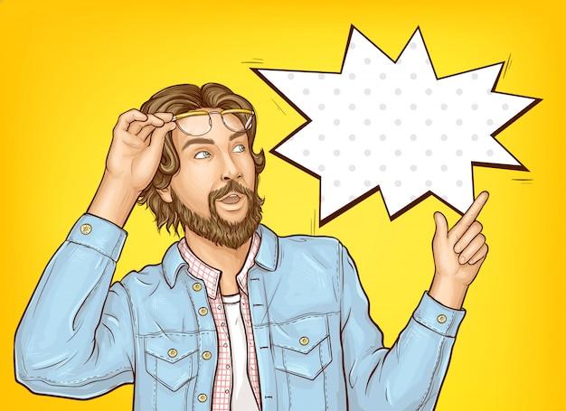すごい表情で流行に敏感なひげを生やした男。