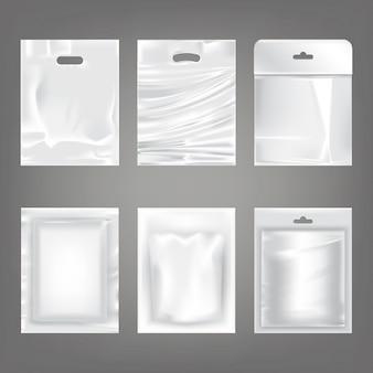 Набор векторных иллюстраций белых пластиковых пустых мешков, упаковка