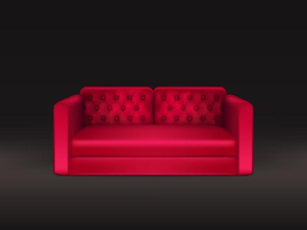 赤い革または布張りの柔らかく快適なクラシックなデザインのソファ