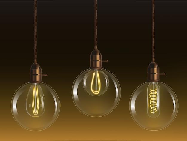 グローブと管状のレトロな白熱電球と輝くビンテージガラスボールランプ