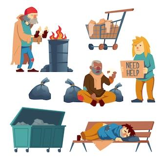 白で隔離されるホームレスの人々の漫画のキャラクターセット