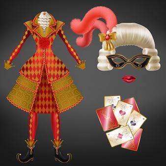 女性ジョーカー、ハーレクインスーツ、カーニバルの道化師衣装、現実的な衣装を着たパーティー