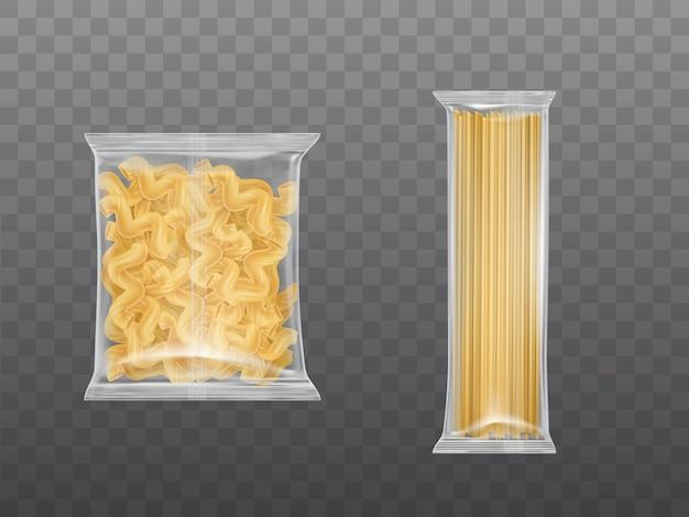 透明なパッケージのパスタは、乾燥マカロニスパゲッティを設定